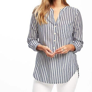 Old Navy Blue and White Striped Tunic Shirt
